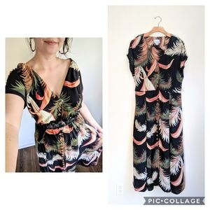 Vtg Boho Tropical Floral Print Button Midi Dress